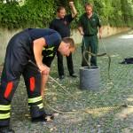 In der Münchner Reptilienauffangstation lassen sich Feuerwehrleute und Polizeibeamte im Umgang mit potentiell gefährlichen Tieren ausbilden.
